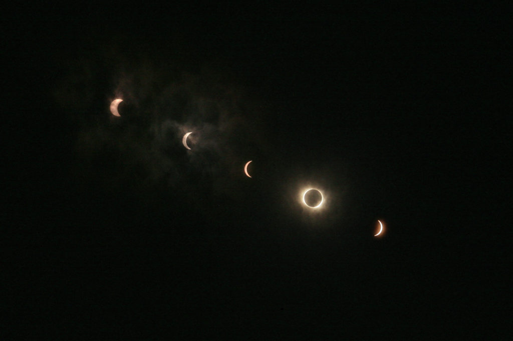 Stages of a Total Eclipse of the Sun, by Nakae