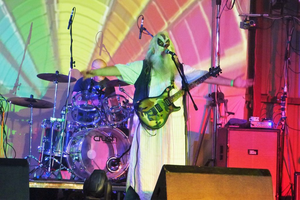 Psychedelic music at Solarsphere Astronomy and Music Festival, Builth Wells, Powys, Wales