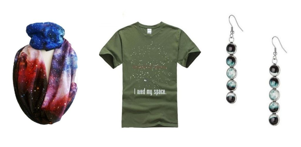 galaxy print scarf, I need my space T-shirt and moon phase earrings - cosmic Christmas gifts for travellers