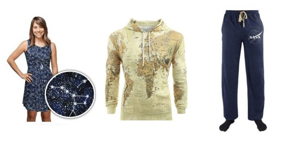 glow-in-the-dark constellation dress, map design hoodie and NASA sweatpants - cosmic Christmas gifts for travellers