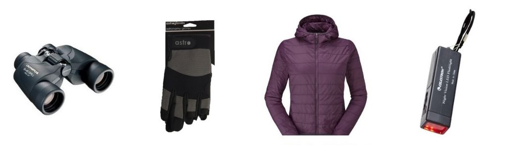 Binoculars, Rohan clothes, astrogloves and Celestron red light torch - cosmic Christmas gifts for travellers
