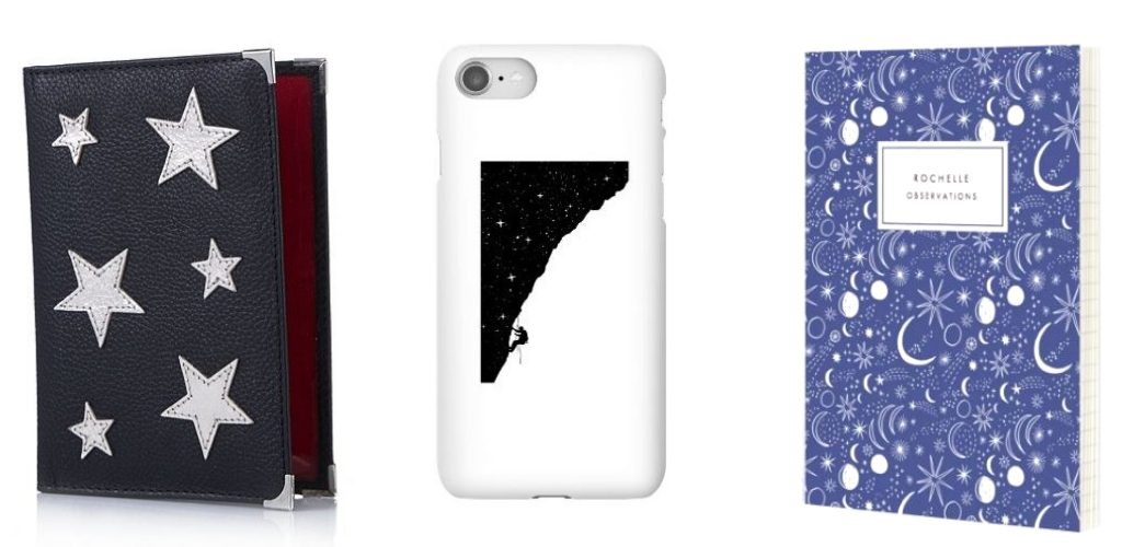 leather passport holder, starry climb phone case and cosmic notebook cosmic Christmas gifts for travellers